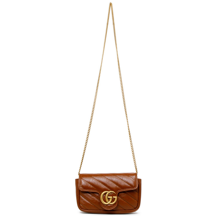 Gucci Brown Matelasse Calfskin Super Mini GG Marmont