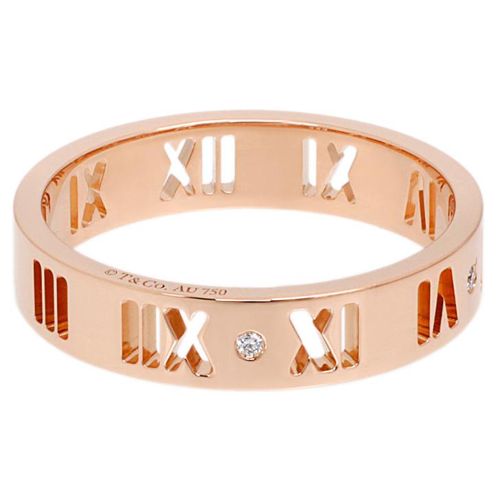 Tiffany 18K Rose Gold Diamond Atlas Pierced Ring