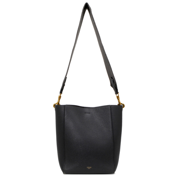 Celine Grey Grained Calfskin Small Sangle Bucket Bag