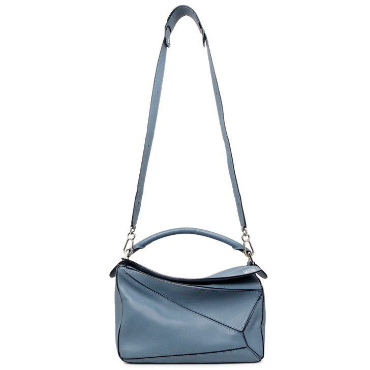 Loewe Stone Blue Calfskin Medium Puzzle Bag