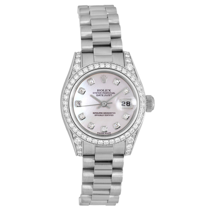 Rolex 18K White Gold, Diamond & Mother of Pearl Ladies Datejust President  179159