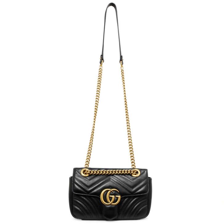 Gucci Black Matelasse Calfskin GG Marmont Mini  Bag