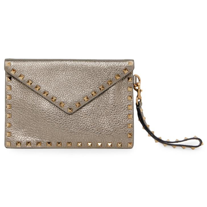 Valentino Metallic Pebbled Calfskin Rockstud Envelope Clutch