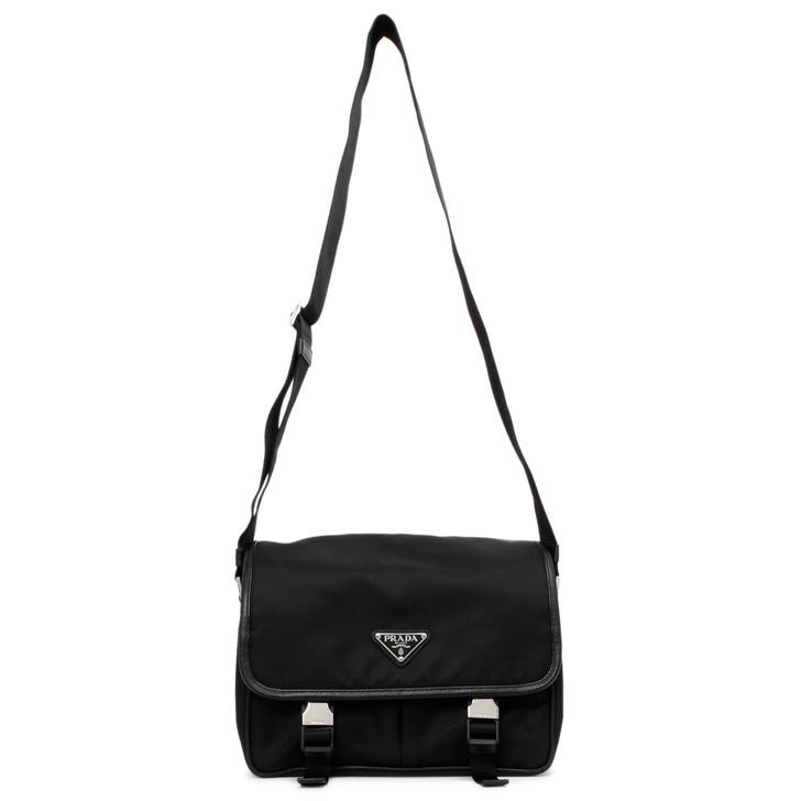 Prada Nero Tessuto & Saffiano Messenger Bag