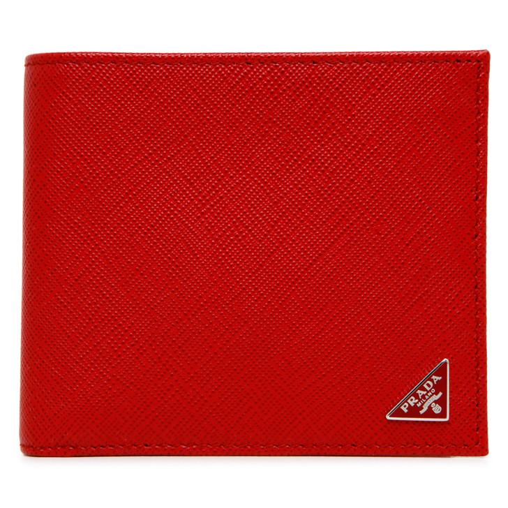 Prada Fuoco Saffiano Triangle Bifold Wallet