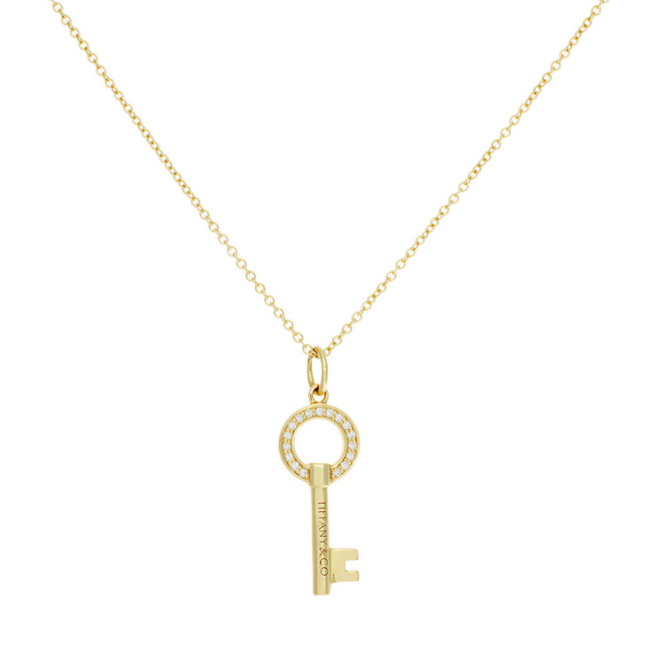Tiffany 18K Yellow Gold Diamond Modern Keys Open Round Mini Key Pendant