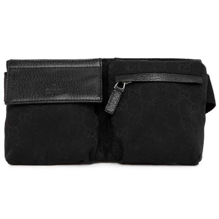 Gucci Black Monogram Canvas  Belt Bag