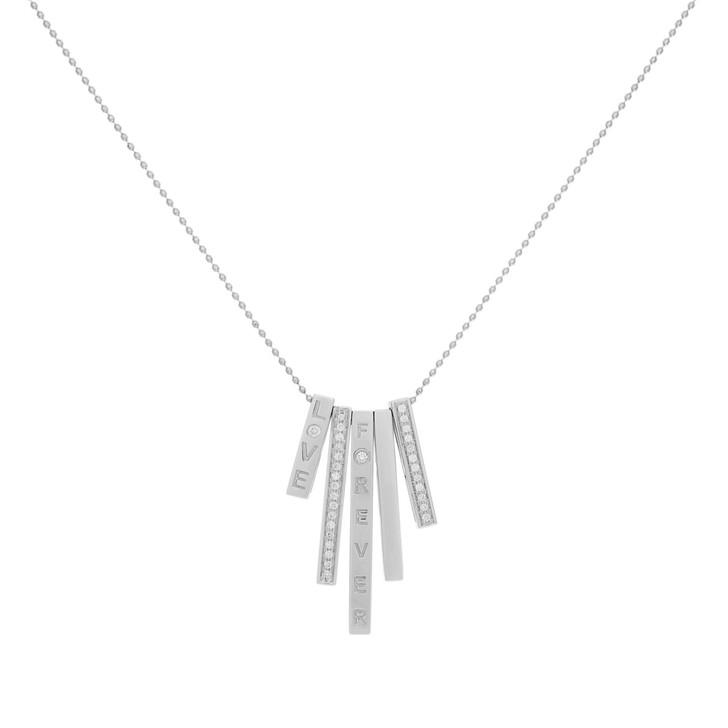 18K White Gold Diamond Bar Pendant Necklace