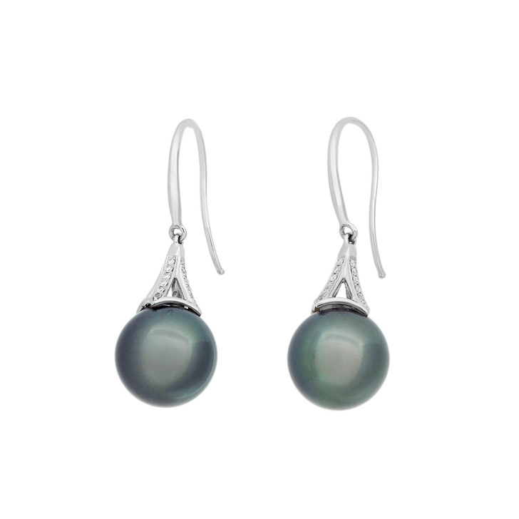 18K White Gold Tahitian Black Pearl Diamond Earrings