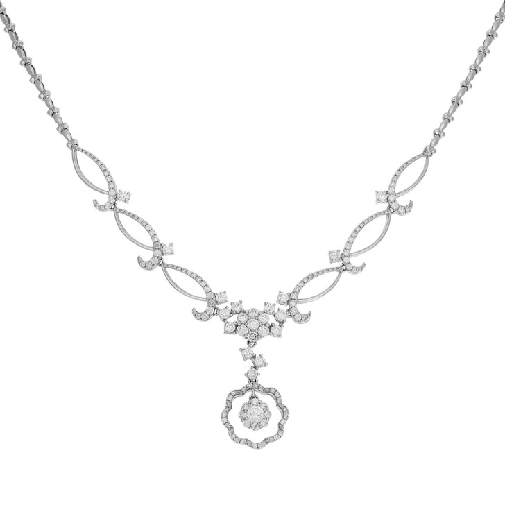 18K White Gold Lavaliere 2.66 Carat Diamond Necklace