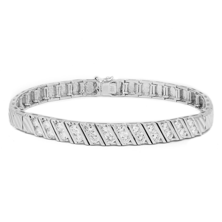 14K White Gold 1.08 Carat Diamond Bracelet