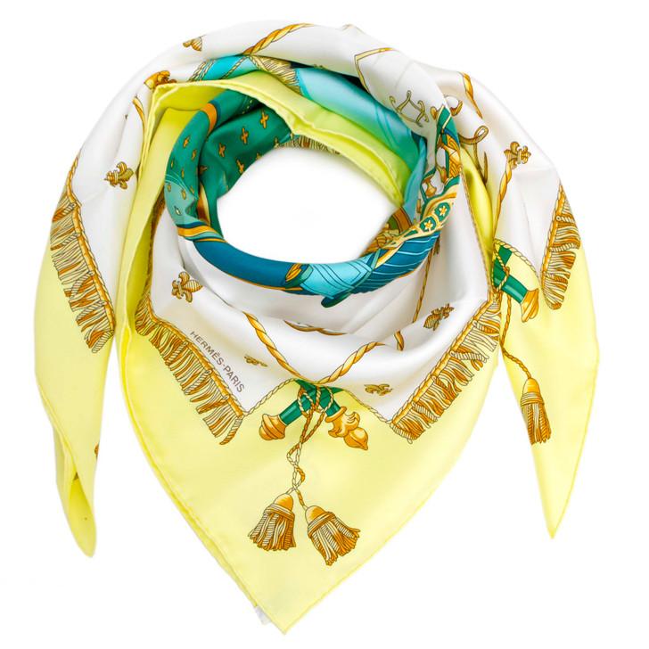 Hermes Jaune Soufre/Blanc/Turquoise Silk Vue Du Carosse De La Galere La Reale Scarf 90