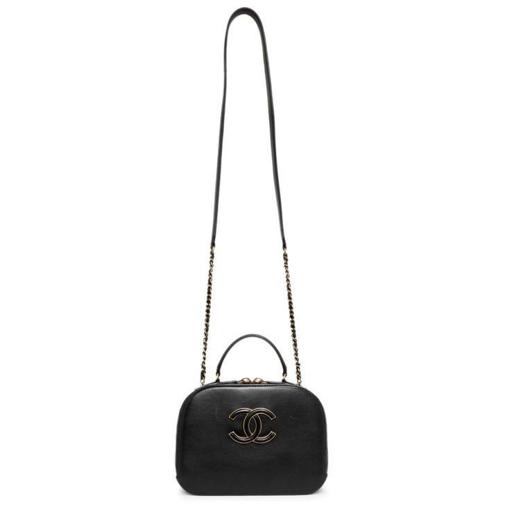 Chanel Black Calfskin and Goatskin Small Coco Curve Vanity Bag