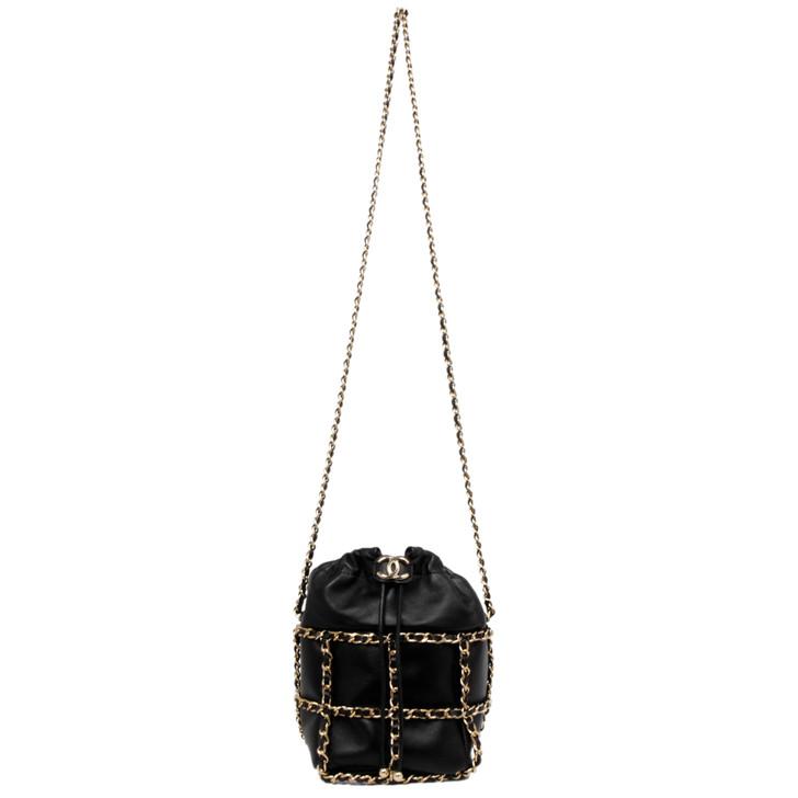 Chanel Black Lambskin Bucket Chain Drawstring Bag