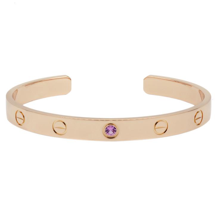 Cartier 18K Pink Gold Pink  Sapphire Love  Bracelet