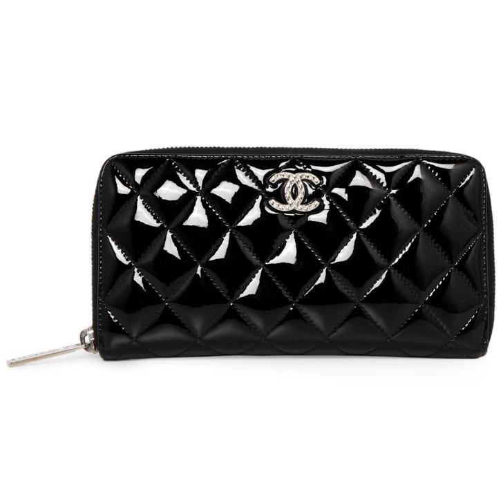 Chanel Black Quilted Patent Brilliant Zip Around Wallet