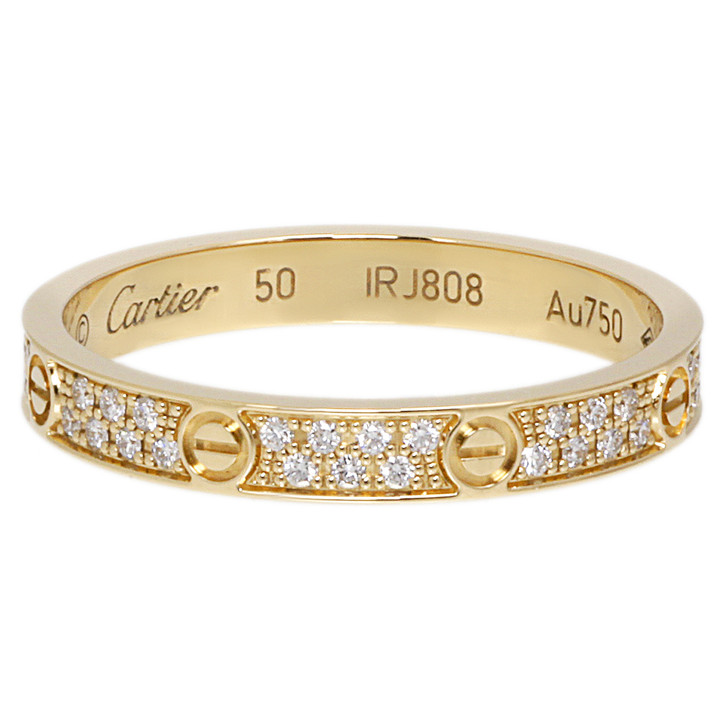 Cartier 18K Yellow Gold Diamond  Small Love Ring
