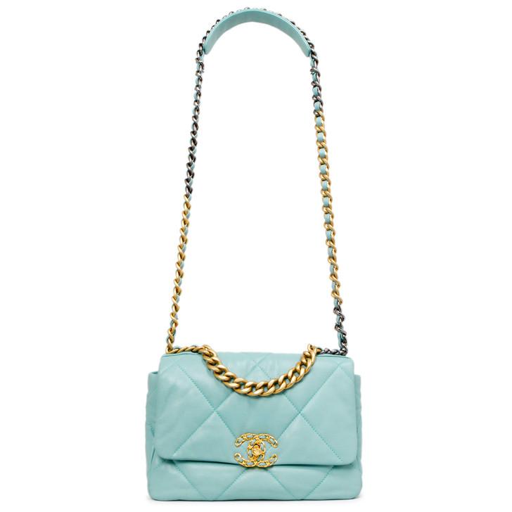 Chanel Blue Quilted Goatskin Medium 19 Flap Bag