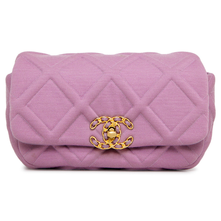 Chanel Light Purple Quilted Jersey 19 Waist Bag