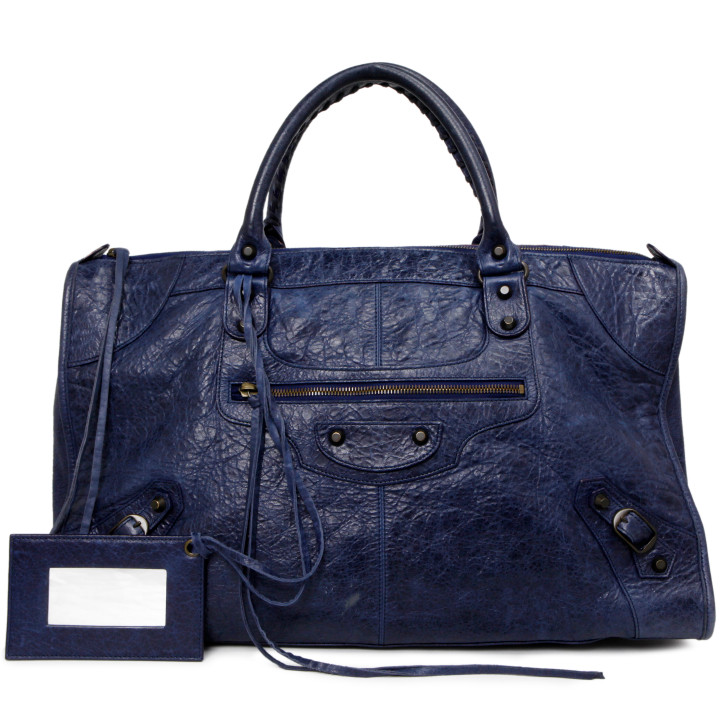 Balenciaga Blue Lambskin  Classic Work Bag