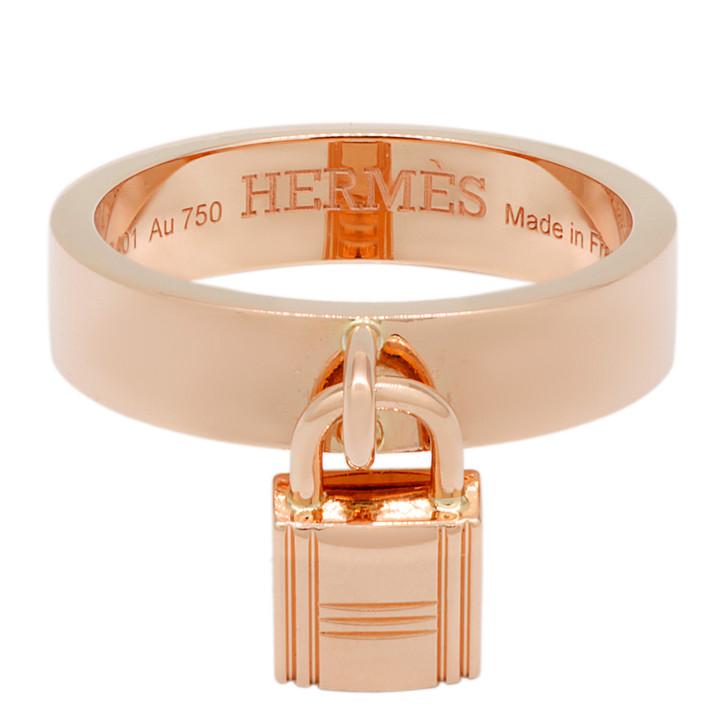 Hermes 18K Rose Gold Medium Clochette Ring