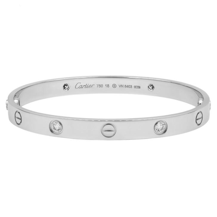 Cartier 18K White Gold 4 Diamond Love Bracelet