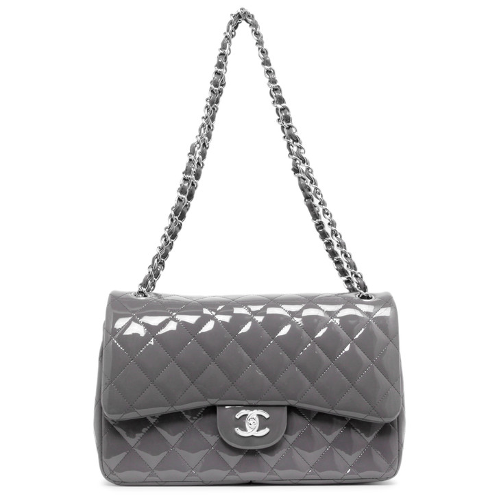 Chanel Grey Quilted Patent Jumbo Classic Double Flap
