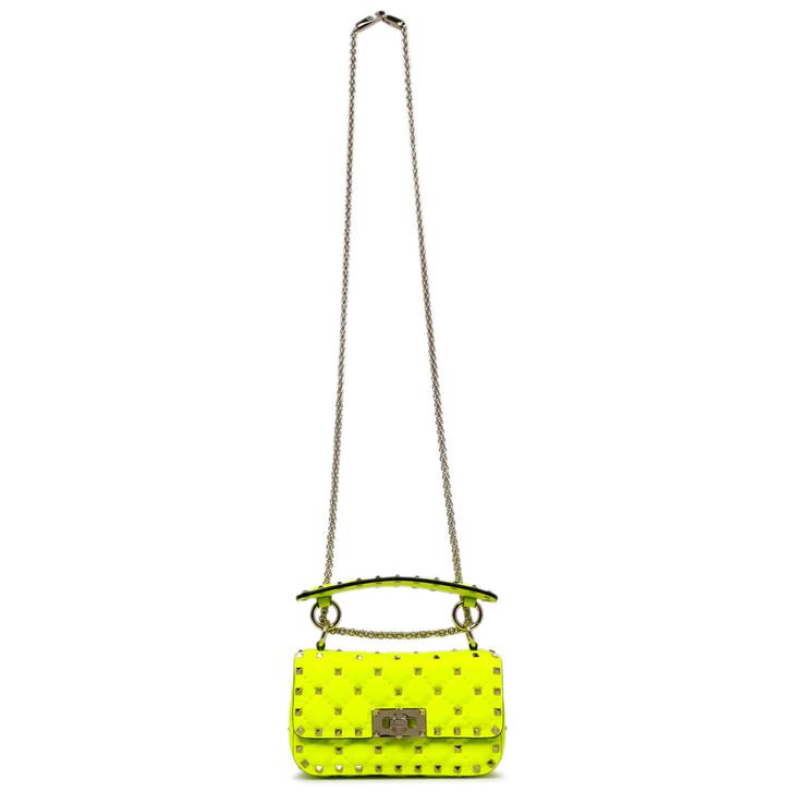 Valentino Fluo Yellow Calfskin Mini Rockstud Spike Shoulder Bag