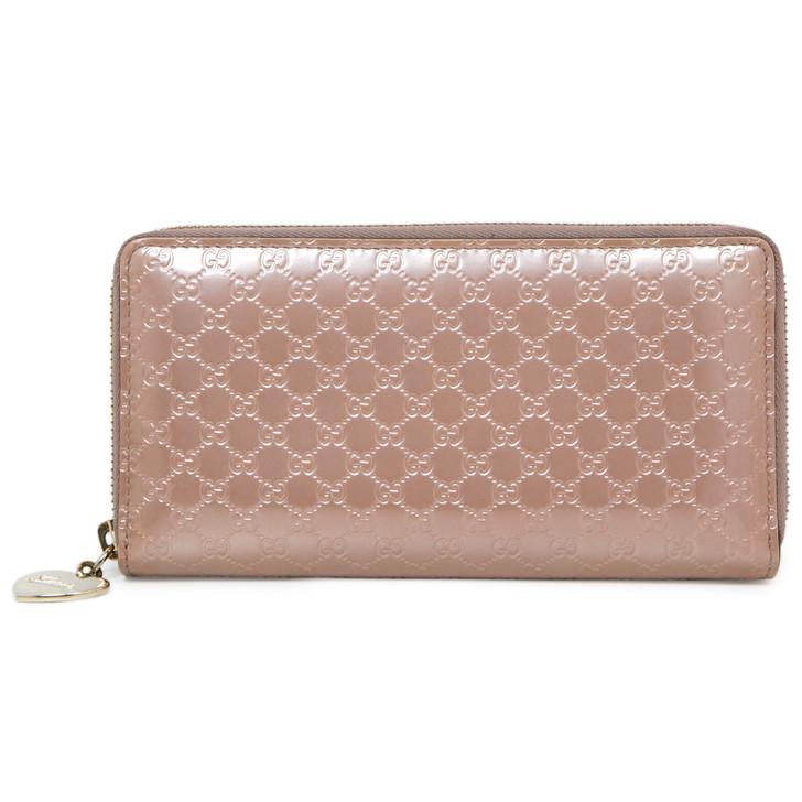 Gucci Pink Patent Microguccissima Zip Around Wallet