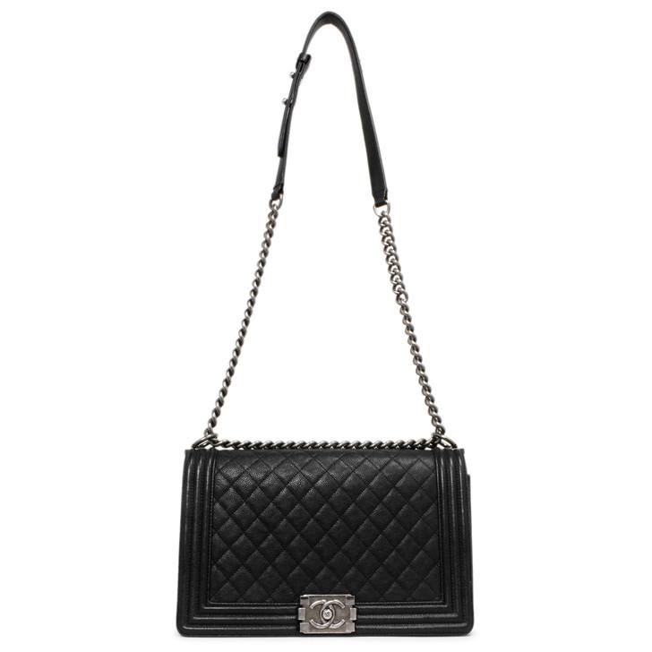 Chanel Black Quilted Caviar New Medium Boy  Bag