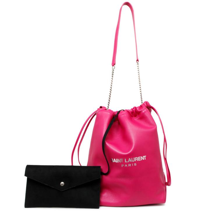 Saint Laurent Pink Lambskin Teddy Drawstring Bag