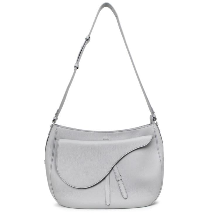Dior Grey Grained Calfskin Saddle Soft Bag