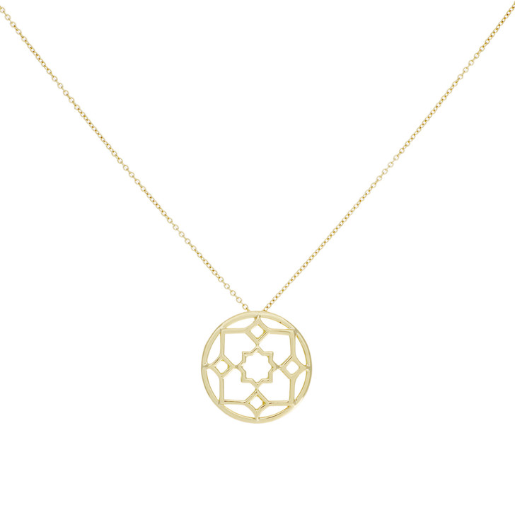 Tiffany & Co. 18K Yellow Gold Zellige Medallion Pendant Necklace