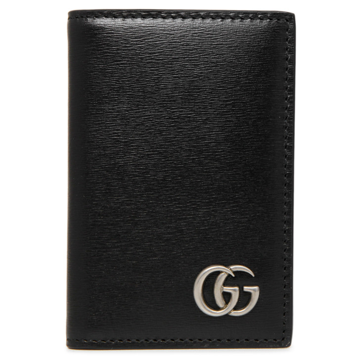 Gucci Black Smooth Calfskin GG Marmont Card Holder