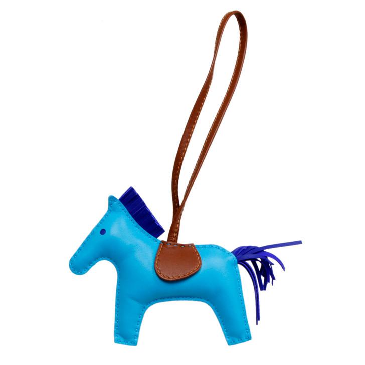 Hermes Bleu Aztec/Bleu Electrique Milo Lambskin Grigri Rodeo Horse Bag Charm MM