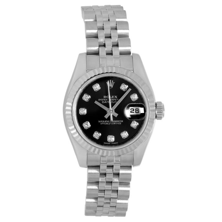 Rolex Stainless Steel & 18K White Gold Diamond Ladies  Datejust 179174