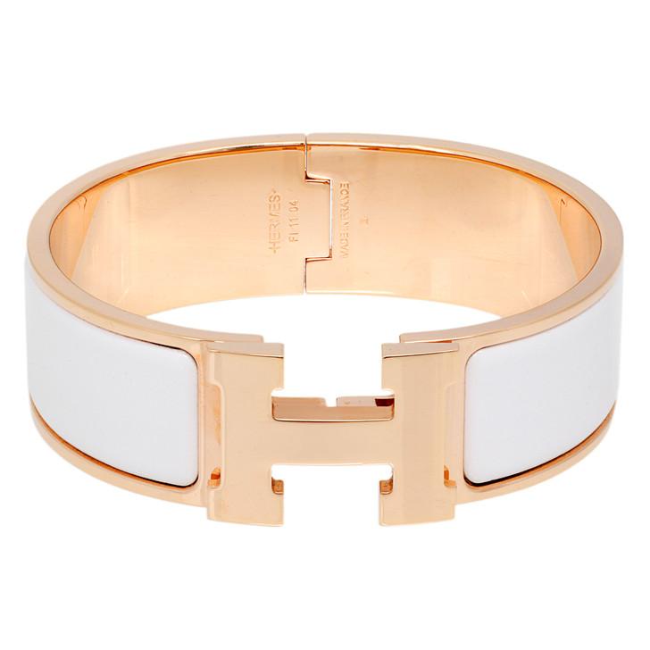 Hermes White Enamel Clic Clac H Bracelet