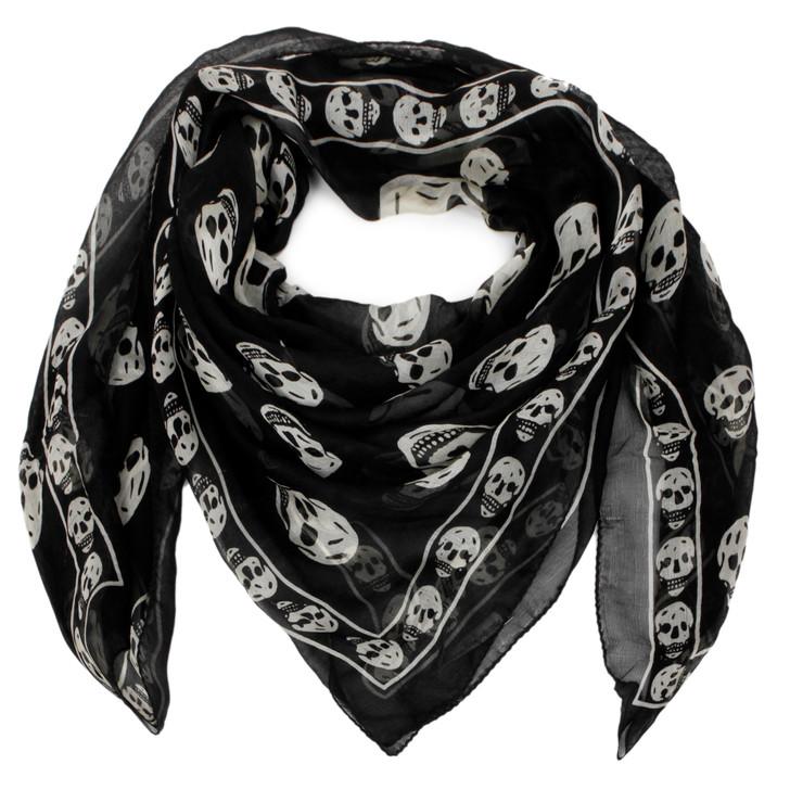Alexander McQueen Black & White Silk Skull Scarf