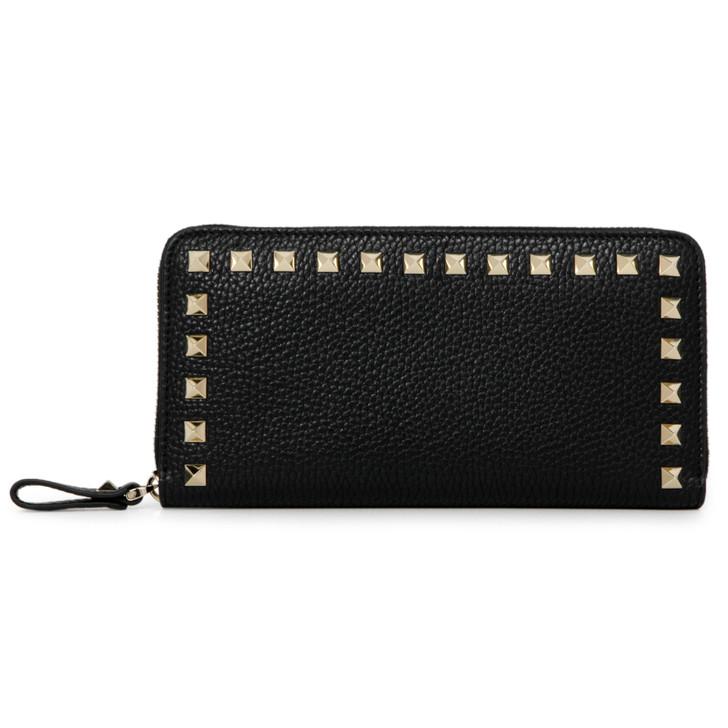 Valentino Black Pebbled Calfskin Rockstud Zip Around Wallet