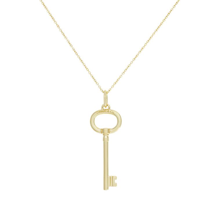 Tiffany & Co. 18K Yellow Gold Oval Key  Pendant Necklace