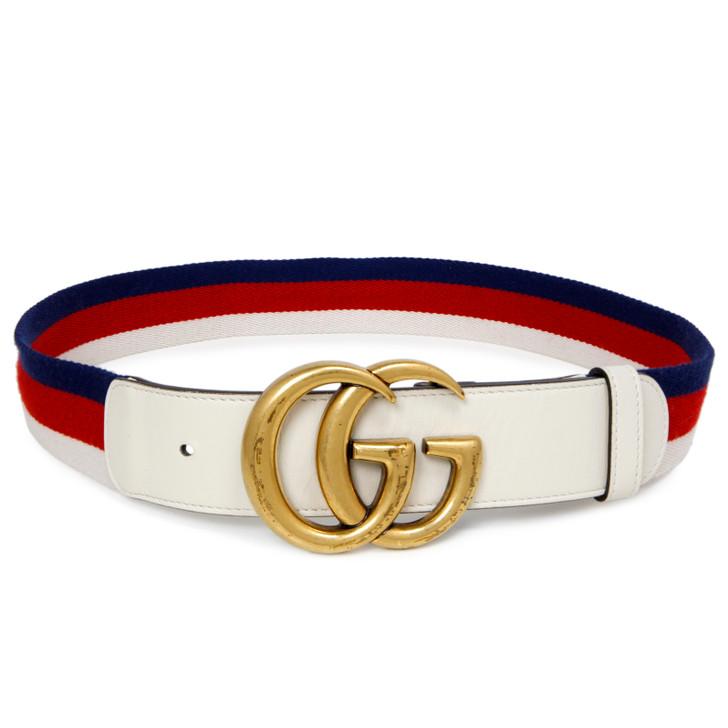 Gucci White Double G Web Belt