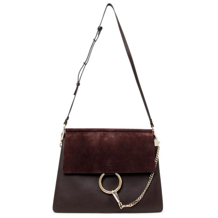 Chloe Dark Purple Suede & Calfskin Medium Faye Shoulder Bag
