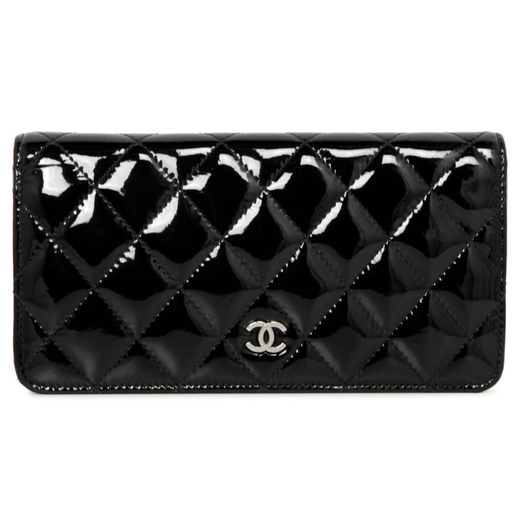 Chanel Black Quilted Patent Yen Wallet