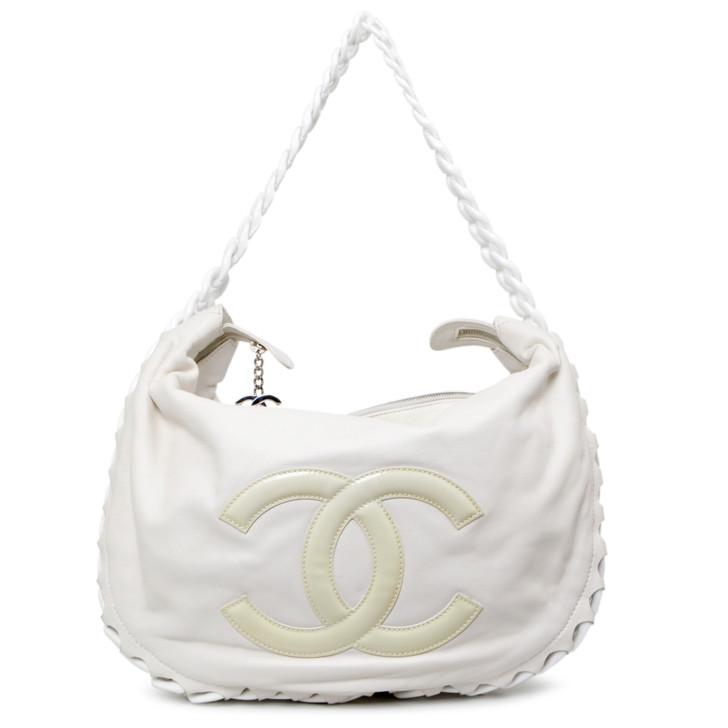 Chanel White Calfskin Modern Chain Hobo