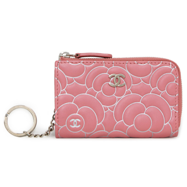 Chanel Pink Camellia Embossed Lambskin Key Holder
