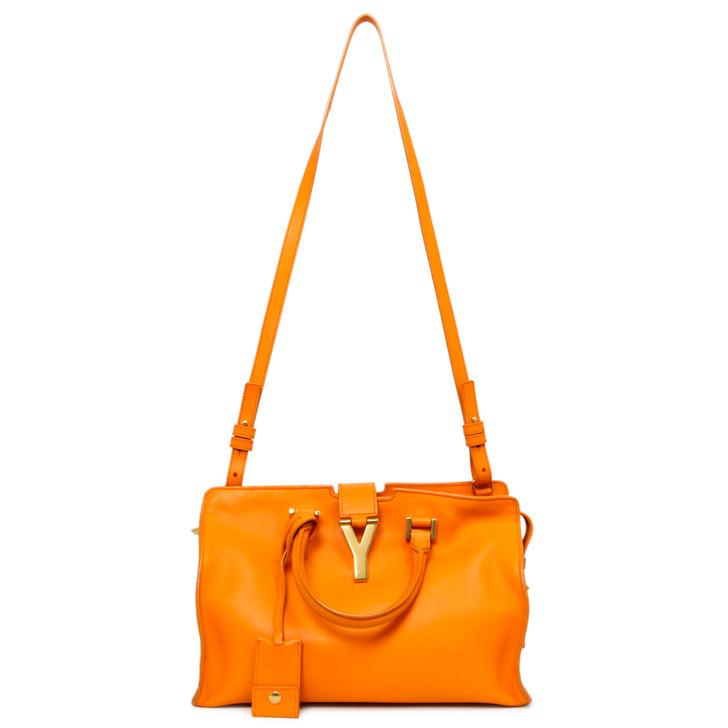 Saint Laurent Orange Calfskin Small Classic Y Cabas