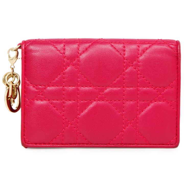 Christian Dior Fuchsia Lambskin Cannage Lady Dior Card Holder