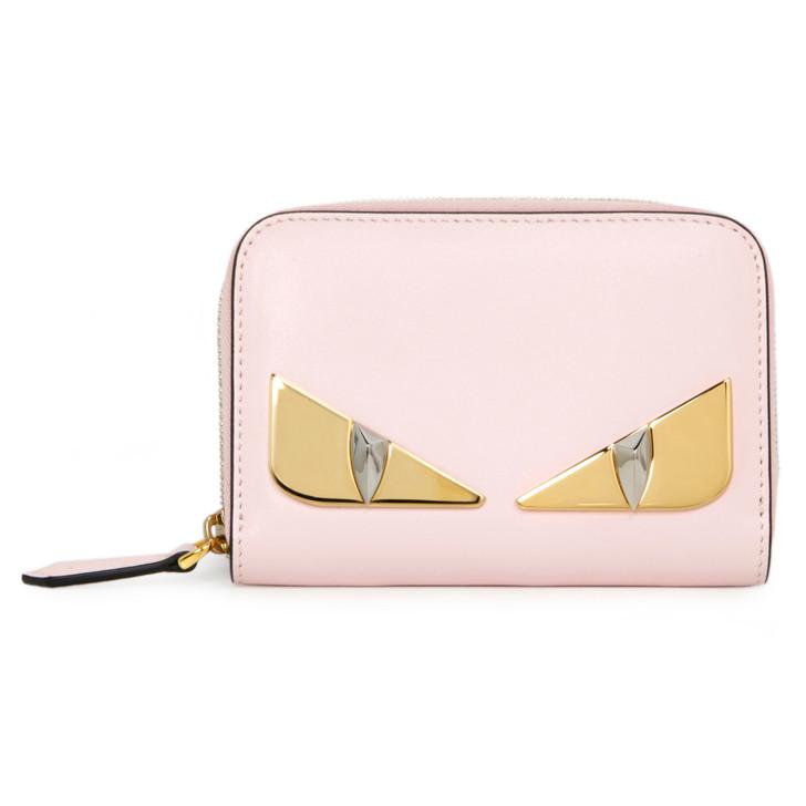 Fendi Pink Calfskin Monster Eyes Mini Zip Around Wallet