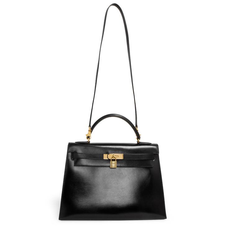 Hermes Vintage Black Box Kelly Sellier 32