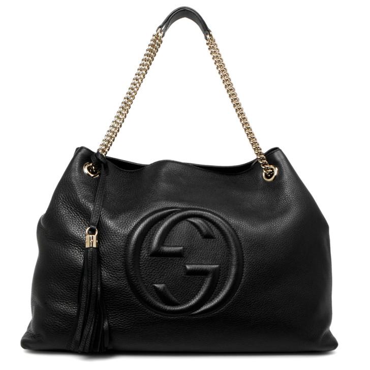 Gucci Black Pebbled Calfskin Large Soho Chain Shoulder Bag
